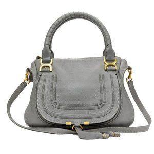 Chloe Cashmere Grey Large Leather Marcie Satchel